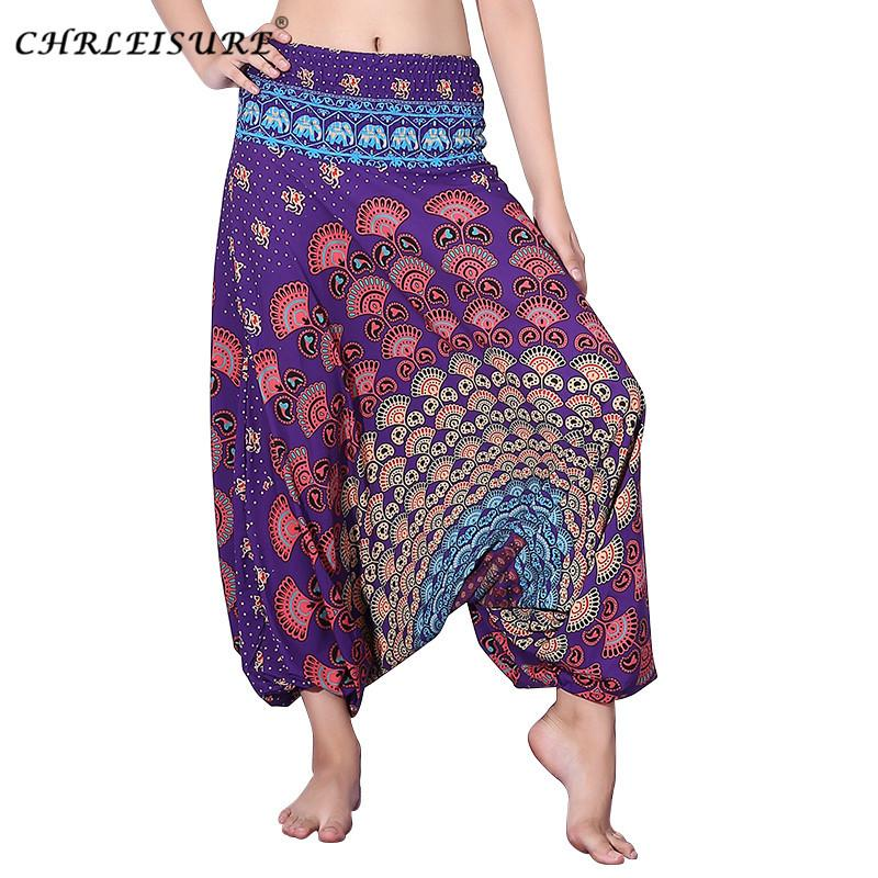 fece1709be9 CHRLEISURE Fashion Beach Boho Harem Pants Women High Waist Plus Size  Bohemia Cross Pants Summer Loose Print Pant Women Y1891405 UK 2019 From  Tao02