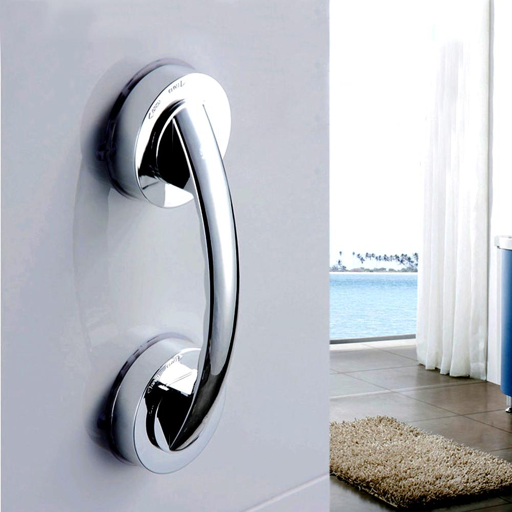 Bathroom Handrail Suction Cup Handrail for Bathroom Accessories Glass Door Handle Children Elder Strong Sucker Silver Hand Grip