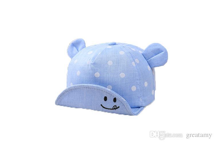 3134ad80b04cd5 Baby Boys Girls Hat Spring Autumn Baby Ear Dot Design Adjustable ...
