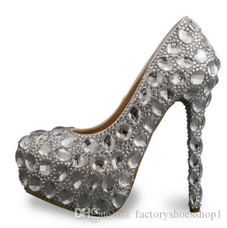 2018 Silver Crystal High Heel Pumps 16CM Platform Bride Wedding Party Dress Shoes for Woman Round Toe Cheap Price