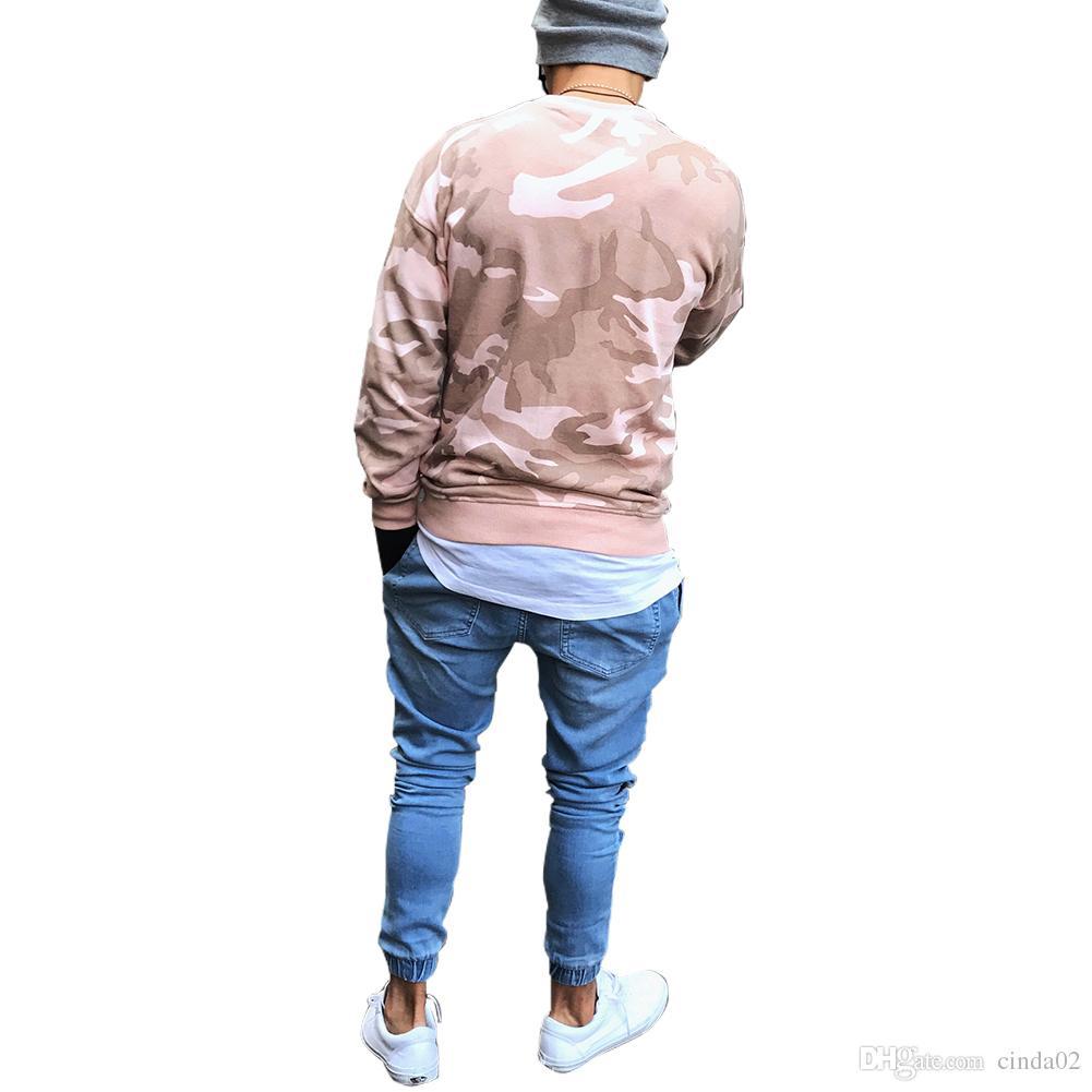 Men Pencil Pants Biker Jeans Draped Stylish Slim Fit Jeans High Street Clothes For Men Denim Trousers Pleated Pants