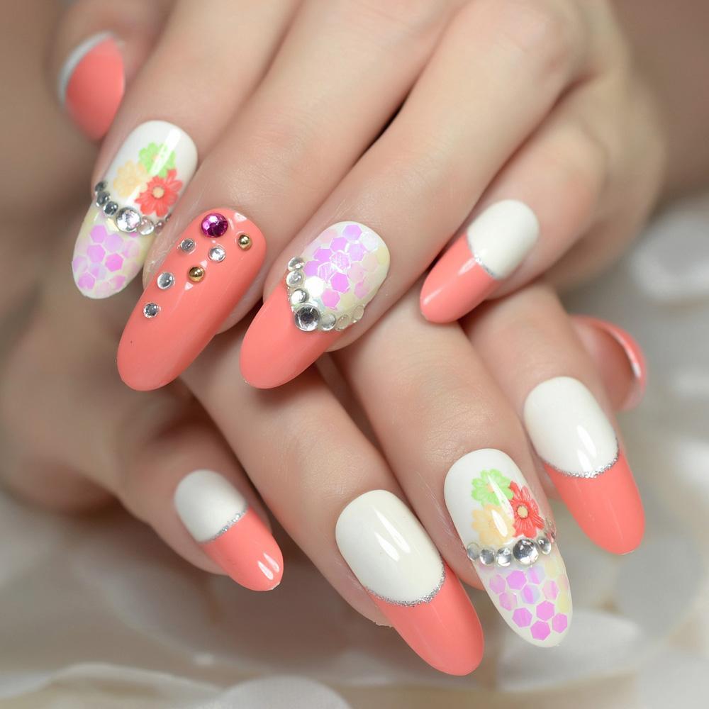 Long Oval Nails Rhinestones Decoration Nail Art Pink Fake Nails