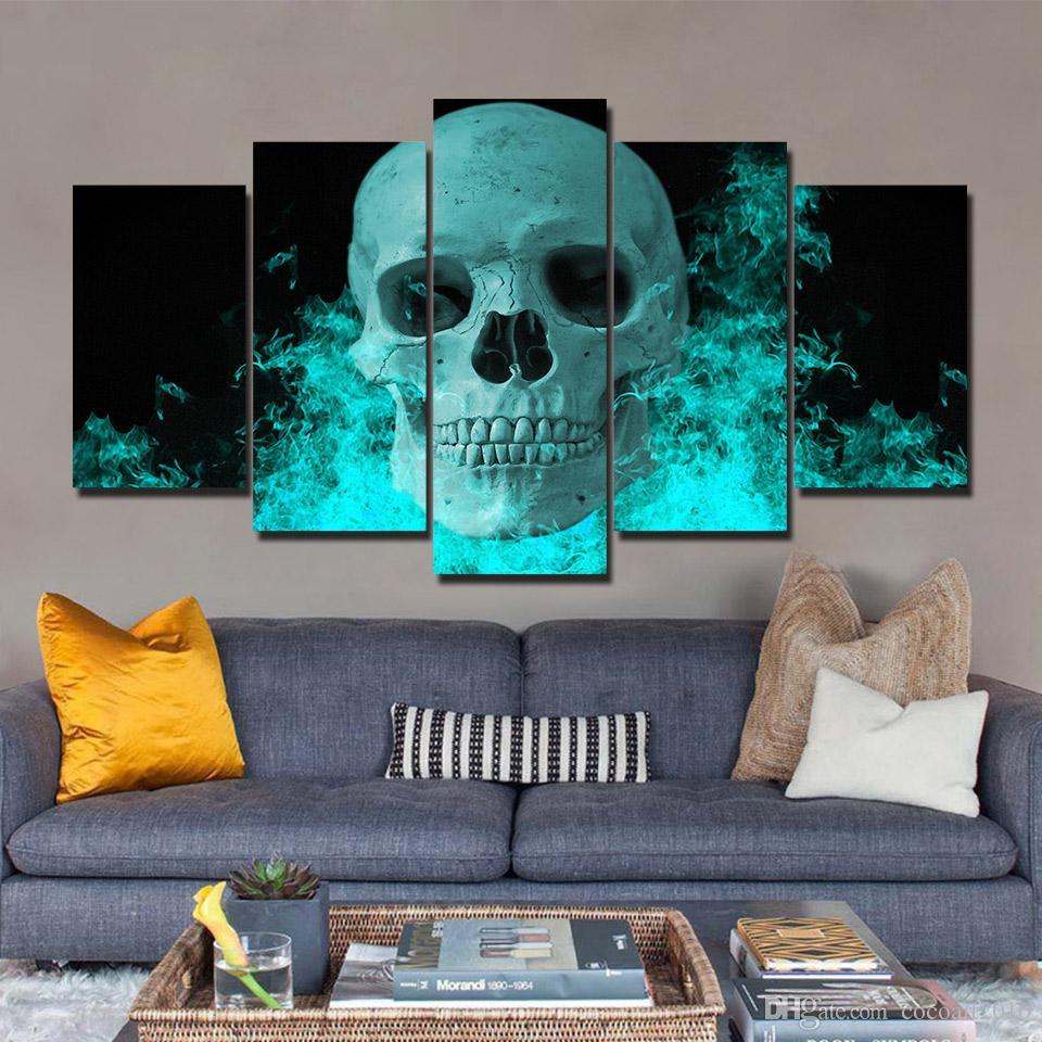 2018 Modular Pictures 5 Panels Abstract Skull Blue Fire Cool Poster ...