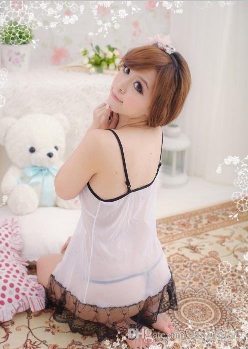 Gao Guile Seiden-Spitzenrock erotische Unterwäsche sexy Schlafanzug weiß transparent offenen Charm Set SY