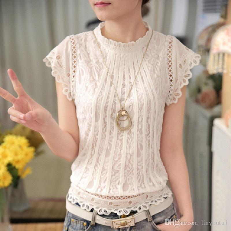 Autumn Summer Style Shirts Women Blouses Short Sleeve Floral Lace