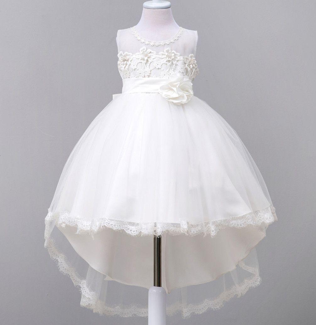 New White Flower Girl Dresses Patchwork Mesh Princess Ball Grown O