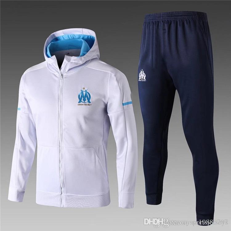 18a44efb46b 2019 17 18 Ligue 1 Maillot De Foot Marseille Soccer Training Suits Blue  Hoodie Survetement Tracksuits Uniforms Shirts Long Sleeve Tights Pants From  ...