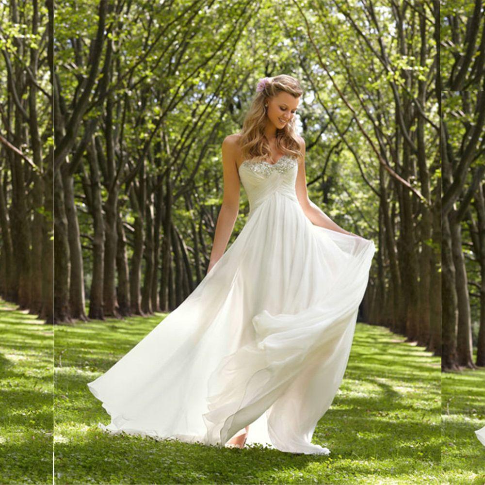2018 Chiffon Beach Wedding Dresses Cheap A line Empire Maternity Lace wedding dress Backless Garden wedding dress Plus size