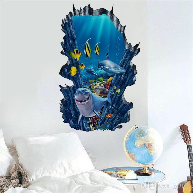 Cartoon Shark 3D Underwater Wall Sticker PVC Removable Fish Wall Art Mural for Living Room Kids Room and Nursery Decoration