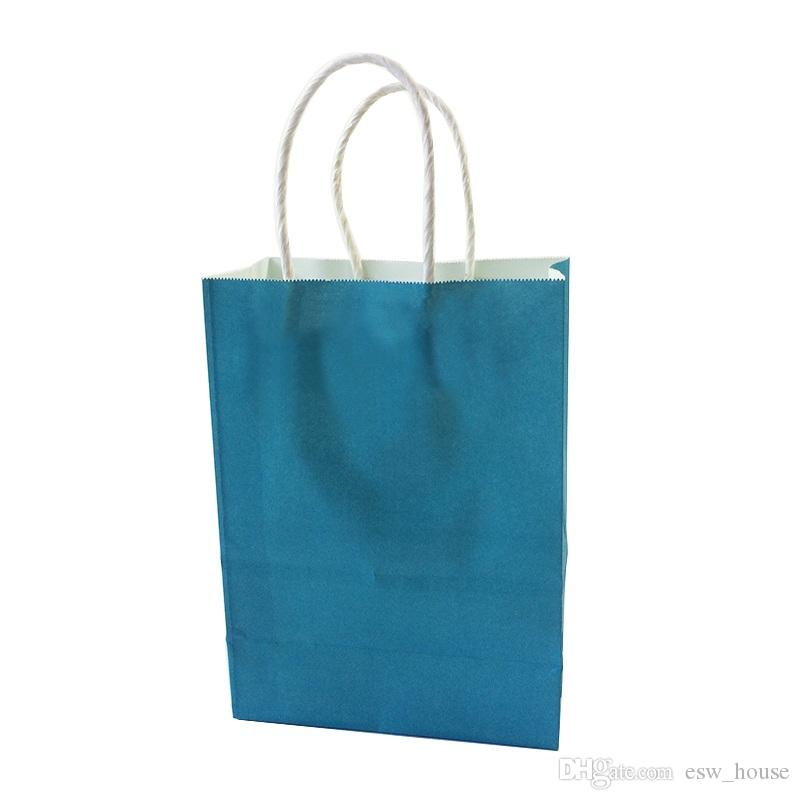 Presente de papel Kraft saco pequeno DIY Multifunction macio Bag Cor do Papel com presente Handles 21x15x8cm Bag Festival