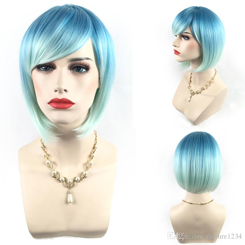 Neue Ankunft Mode Pastell Haar Perucke Synthetische Haarfarbe Lace Front Perucke Kurze Naturliche Gerade Frisur Perucken