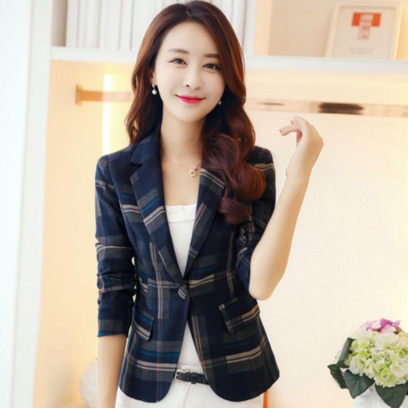 Blazer Feminin 2018 Donna Blu Rosso Blazer scozzese causale Slim Blazers Giacche One Button Suit Girl Jacket Elegante 3xl