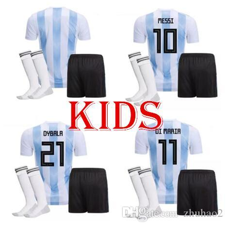 dbce846c90e 2018 Argentina World Cup MESSI DYBALA Argentina kids kit home ...