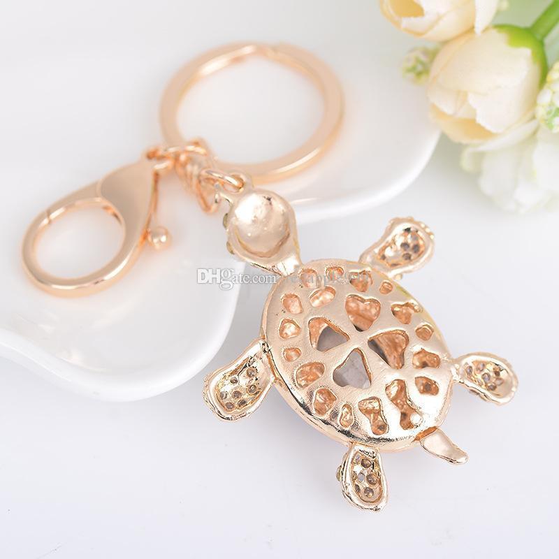 Cute Tortoise Keychain Crystal Metal Keychain Rose Gold Plated Keyring Car Keychains Purse Charms Handbag Pendant for Women Men