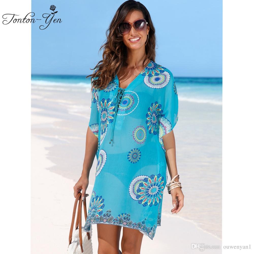 Loose Beach Dress Bikini Cover Up Swimwear Long Sleeve Chiffon Dresses 2017  Summer Bathing Suit For Female Print Blue Women Wear Black Evening Dress  Plus ... b85dc1bf6825