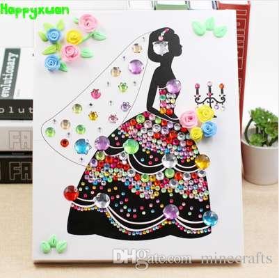 Satın Al Happyxuan Kız Kristal Elmas Mozaik Sanat Sticker Boyama Kil