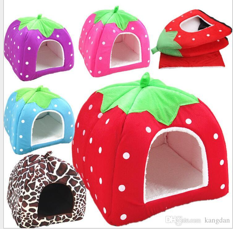 26*26cm Foldable Soft Winter Leopard Dog Bed Strawberry Cave Dog House Cute Kennel Nest Dog Fleece Cat Bed House