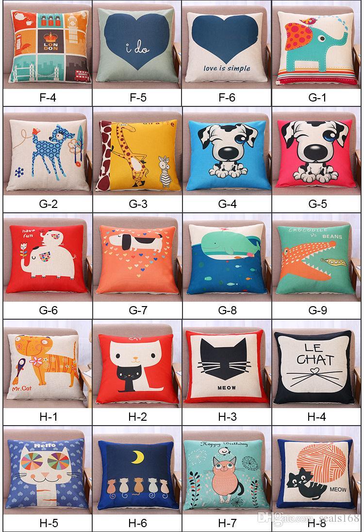 Animal funda de almohada cubierta coche casa cojín impresa carta cubierta sofá tiro decorativo regalos XMAS 140 diseños HH7-875