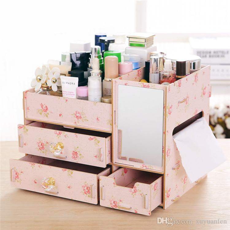 1 adet Ahşap Kozmetik Makyaj Depolama Doku Kutusu Ahşap Organizatör Takı Çantası ile ayna Hediyeler Lady Kız için