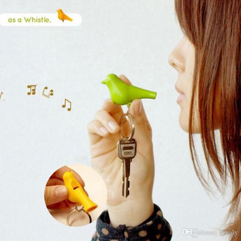 100 takım / grup Ev Dekorasyon Sparrow Kuş Evi Anahtarlık Zinciri Duvar Sanat Anahtar Kanca Sahipleri Tek Düdük