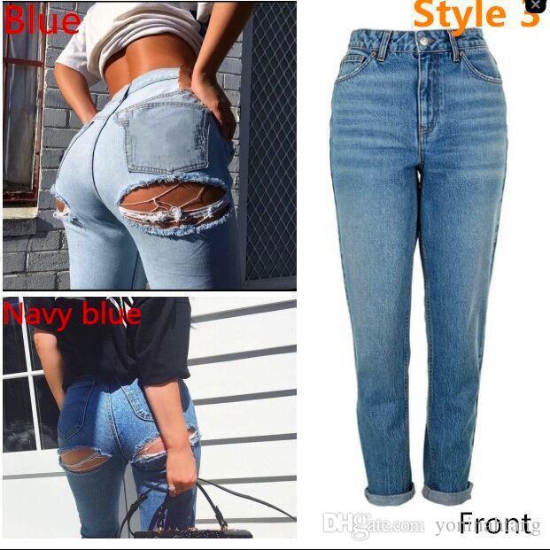 Wholesale Women Skinny Blue Wash Cut Hole On Ass Pencil Denim Jean Cotton Pants