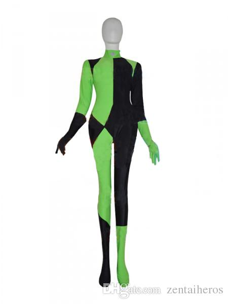 Shego Of Kim Possible Villain Female Cosplay Costume Spandex Lycra Zentai  Halloween Party suit