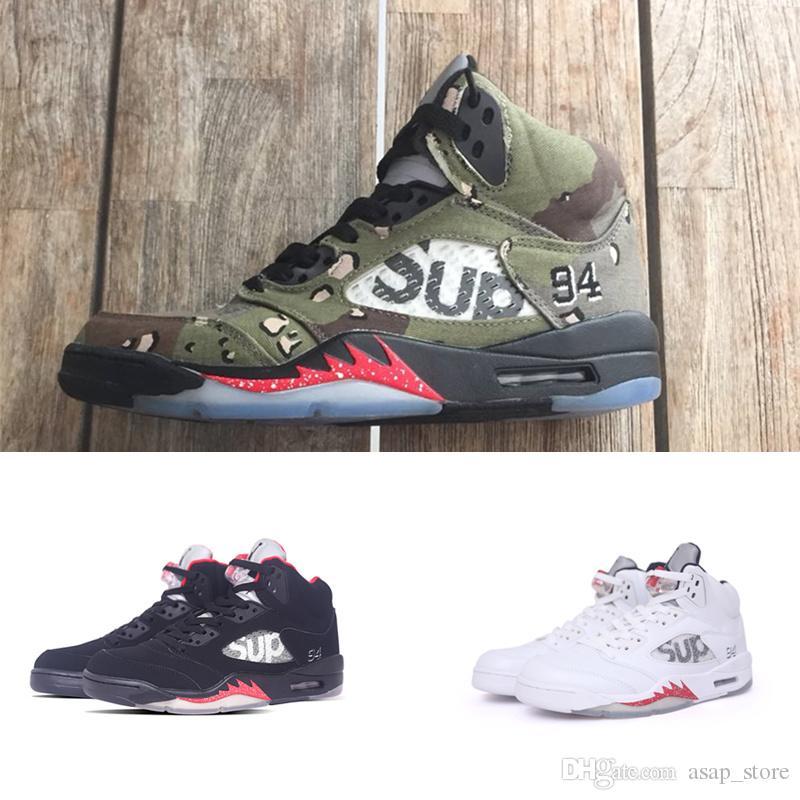 new styles e3628 4e9fe Compre Alta Calidad Nike Air Jordan 5 5s SUP Negro Camo Blanco Zapatos De  Baloncesto Para Hombre 5 Zapatillas De Deporte De Sup Para Hombre  Zapatillas ...