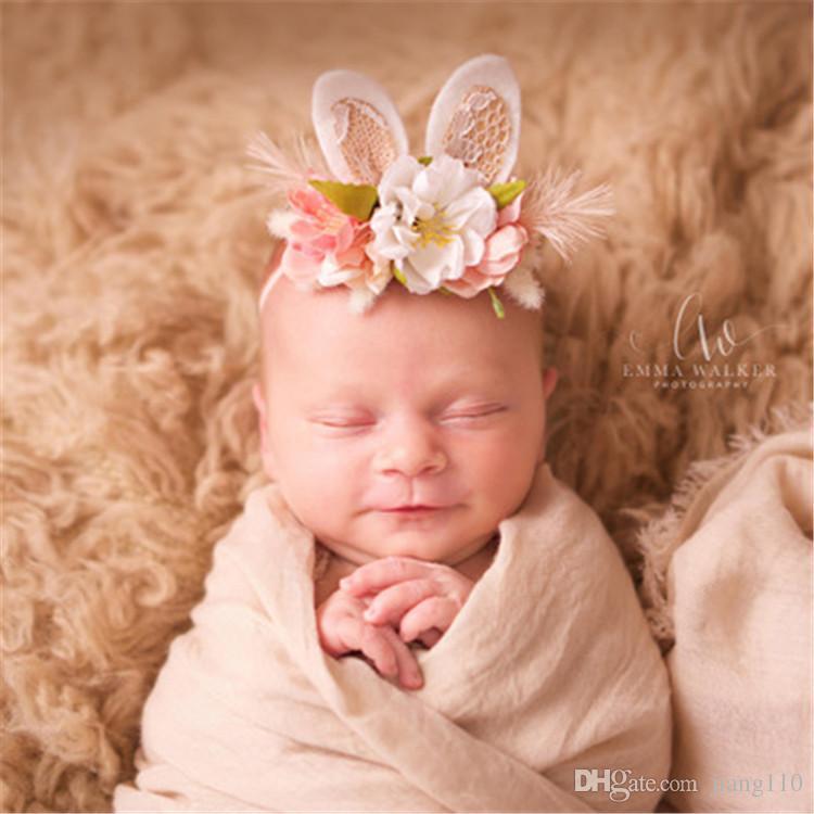 New Kids Girls Toddler Flower Headband Hair Baby Accessories Headwear For Girls  Lace Rabbit Ear Bunny Crown Flower Headbands Hair Bows Kids Updo Hair ... 324c379420d2