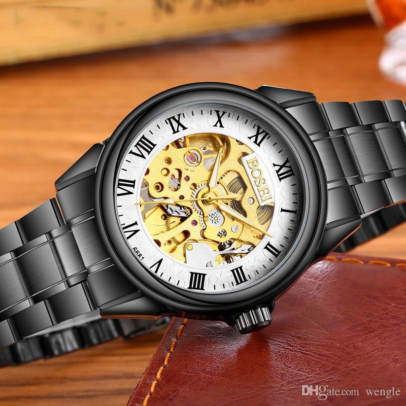 wengle New Men Hollow fashion mechanical Gold plated Commerce Casual waterproof Luminous Automatic winding Glass mirror mechanical Watch