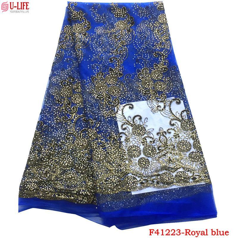 Vendita calda tessuto africano del merletto con pietre 2018 moda francese tessuto di pizzo tessuto nigeriano da sposa di alta qualità le donne africane F4-1223