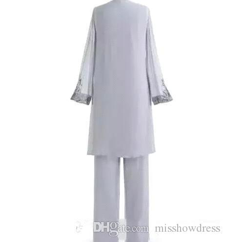 Silver Mother Of The Bride Three-Piece Pant Suit Lace Chiffon Beach Wedding Mother's Groom Dress Long Sleeve Wedding Guest Dresses BA6571