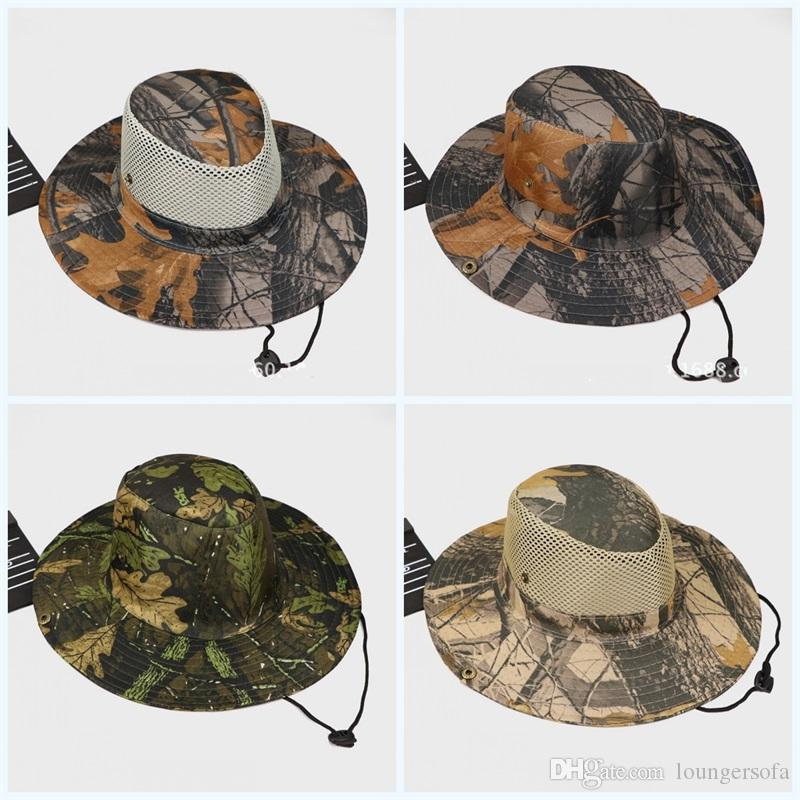 c88fd75d40d Summer Jungle Outdoor Hats Sunscreen Creative Fisherman Leaf Cap Camouflage  Flexible Tactical Boonie Caps For Mens Portable 4 6hs Jj UK 2019 From ...