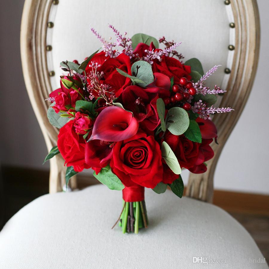 Acheter Rouge Mori Pays Artificielle De Mariage Bouquets De Mariee