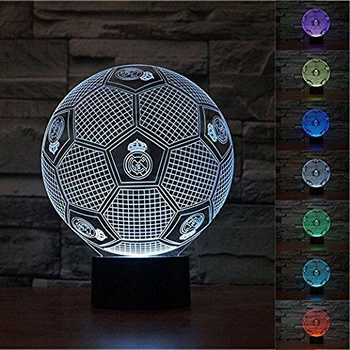3d Real Madrid Football Lamp Night Light Touch Table Desk Optical