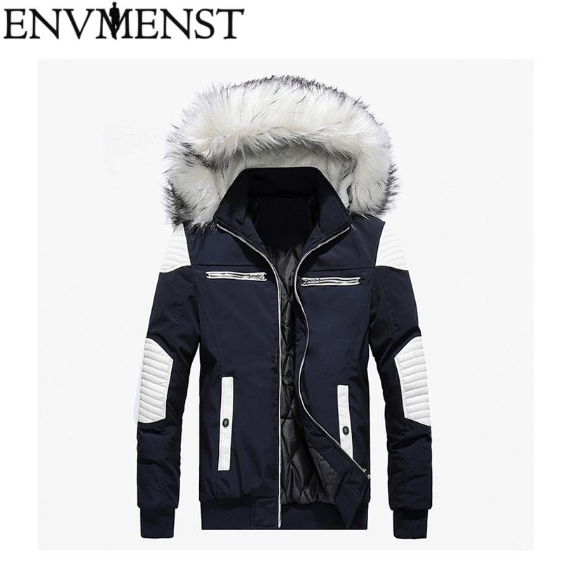 c6798bc9796cc 2018 New Winter Men s Parkas Hooded Thick Patchwork Windbreaker ...