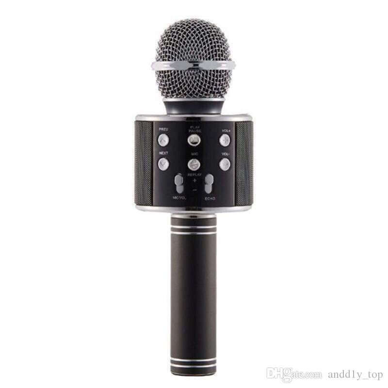 WS-858 беспроводной динамик микрофон портативный караоке Hifi Bluetooth-плеер для iphone для ipad для планшетов Samsung с пакетом
