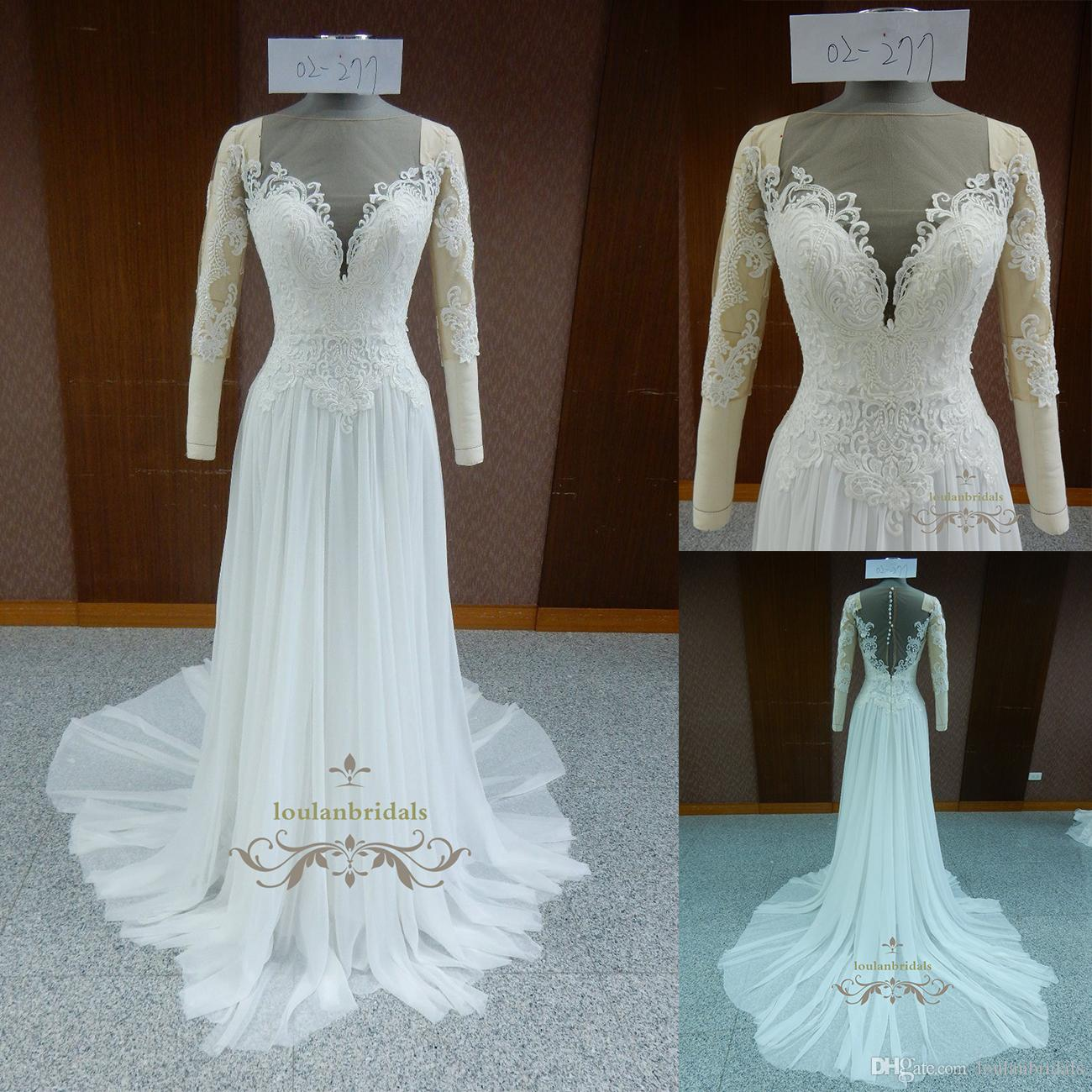 Discount Vintage Half Sleeves Illusion Neckline Wedding Dress ...