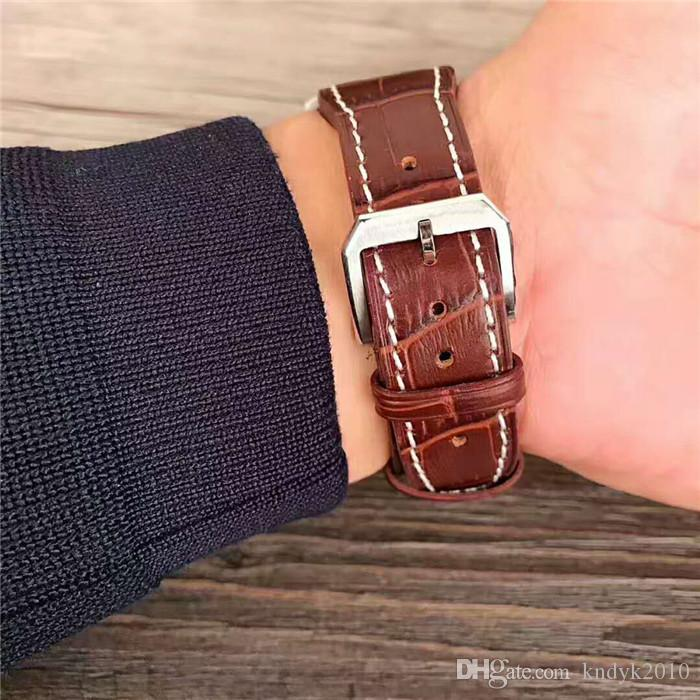 New Men's Luxury Import quartz double - calendar core Stainless Steel case Coated blue glass mirrorLeather Pin buckle Watch