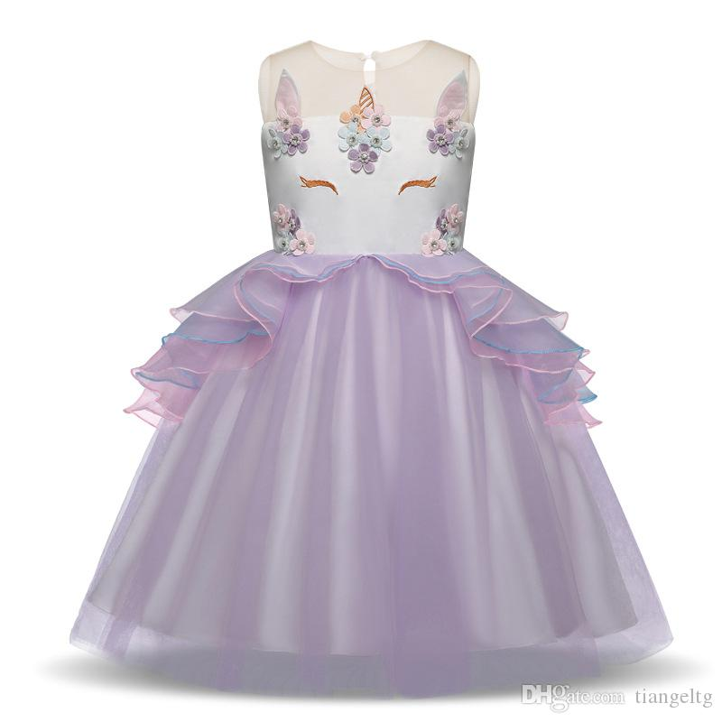 Toddler Girls Unicorn Dress Sleeveless Embroidered 3D Unicorn Princess Dresses Wedding Dress Summer Performance Skirt 3-7T