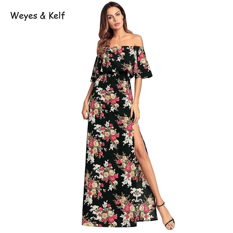 f423342d6 Compre Weyes Kelf Verano Bohemio Irregular Estampado Vestido De Flores  Vestido Largo Mujeres 2018 Otoño Beach Sexy Strapless Max Vestidos A  29.95  Del ...