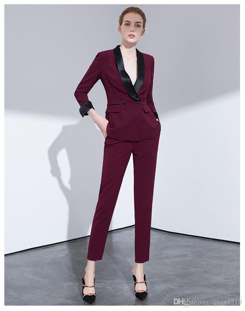 new selection choose newest best shoes 2019 2018 Spring Work Plus Size Formal Female Office Uniform Womens Pants  Suits For Wedding Blazer Set Ladies Pants Suits Women Pnats Suit Set From  ...