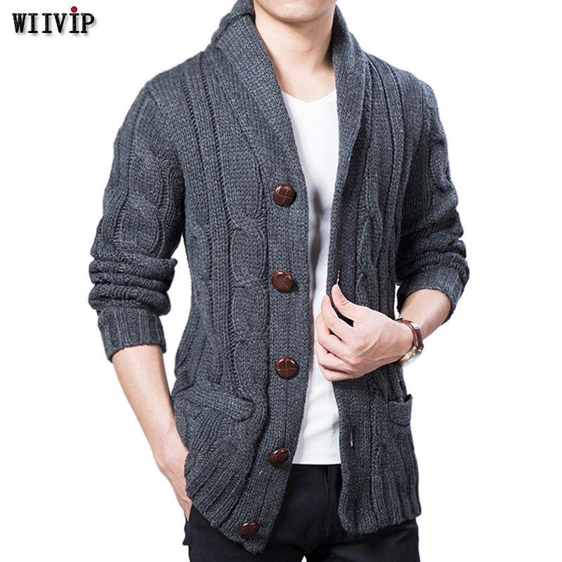 Großhandel WIIVIP Neue Winter Frühling Pullover Männer Dicke Wolle Mischung  Voll Sleeves Solide Strickjacken Herren Outwear Sweatercoat Knited YW021 ... 4c25735f9c