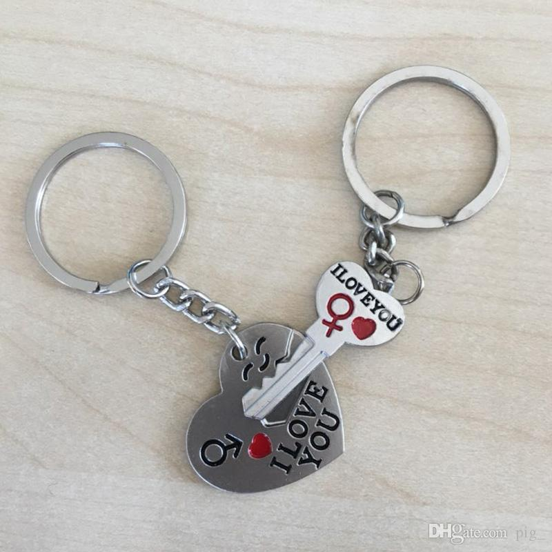 00de12969f New 1 Pair Couple I LOVE YOU Letter Keychain Heart Key Ring Silvery Lovers  Love Key Chain Souvenirs Valentine's Day gif ln