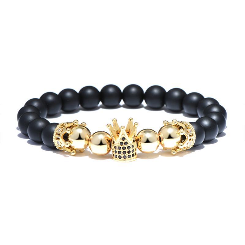 Luxus König Crown Design Naturstein Perlen Armband Charme 4 Farben Strang Armband Für Männer Frauen Kristall Hand Schmuck Homme