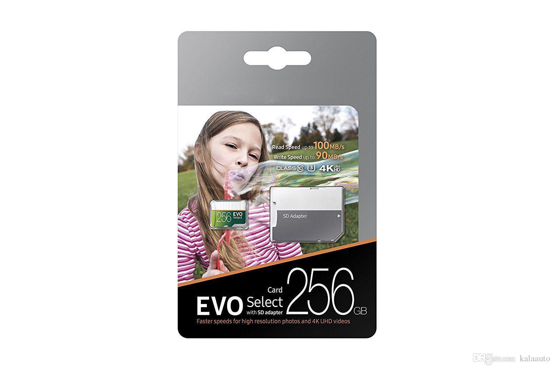 회색 녹색 EVO 선택 100 % 브랜드 새로운 32GB 64GB 128GB 256GB C10 TF 플래시 메모리 카드 클래스 10 무료 SD 어댑터 소매 블리스 터 패키지