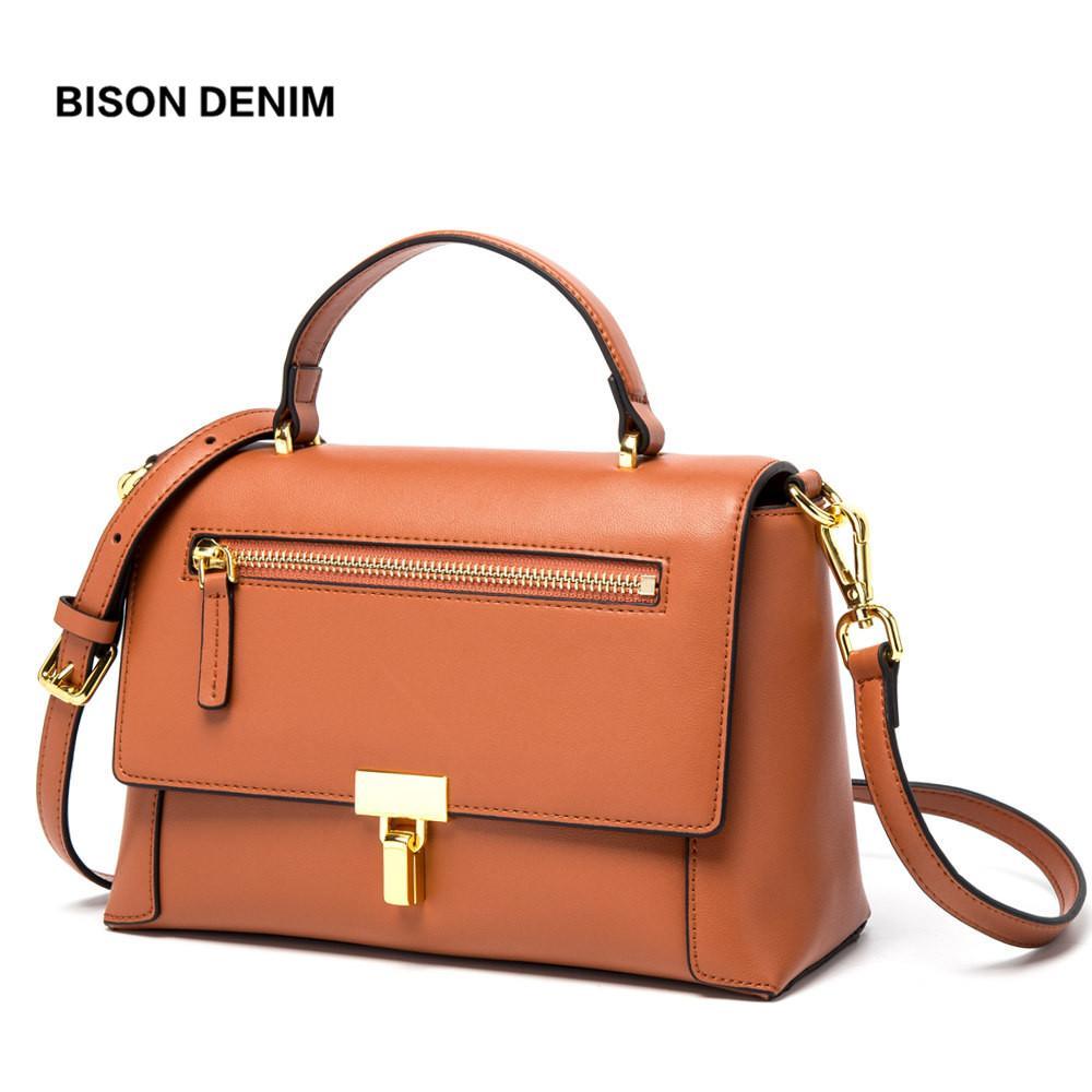 23a752657a BISON DENIM Cow Leather Luxury Handbags Women Bags Designer Vintage  Shoulder Bag High Quality Crossbody Bag For Women N1568 Leather Handbag Red  Handbags ...