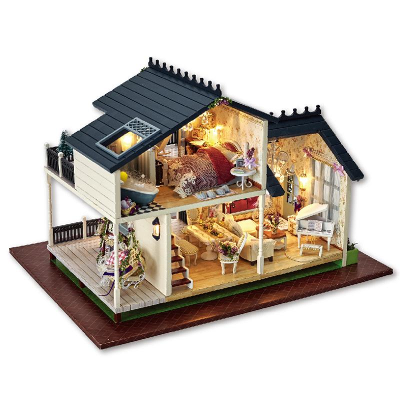 Cute Room Doll House Miniature Diy Dollhouse With Furnitures Led