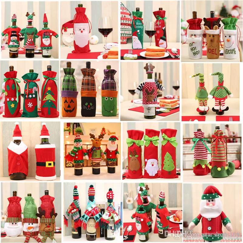 christmas decoration santa claus wine bottle cover gift reindeer snowflake elf bottle hold bag case snowman xmas home decor hh7 1355 christmas outdoor