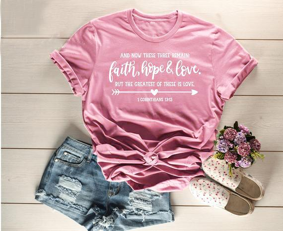 9a2f9fee Women's Tee Faith Hope Love T-shirt Christian Shirt Bible Quote Unisex  Inspirational Slogan Women Fashion Graphic Jesus Faith Tee Top