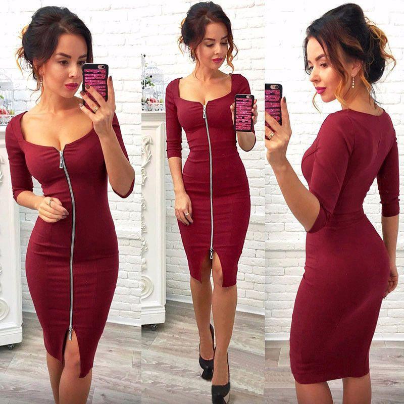 602654da384 2018 Hot Sale New Arrival Spring Summer Women Dress Blue Red Black Dresses  Fashion Dress Knee-Length Sexy Party Office Wear Dresses Spring Summer Women  ...